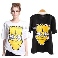 New 2014 Spring Summer Fashion Simpson head shirt Women's cartoon t shirt Yellow short Sleeve T-Shirts tops for women