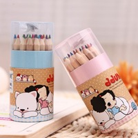 Fashion paintings color pencil barrel packaging suit colored pencil with sharpener 24 colors 11cm*4.8cm 24pcs/box  free shipping