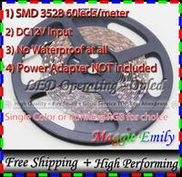 No Waterproof led strip 3528 SMD, 300leds 5meter flexible 60pcs leds per meter DC12V led strips light