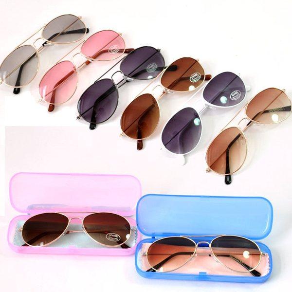 Free Shipping Infant Kids Boys Girls Fashion Sunglasses Metal Frame Child Goggles Box Clean Cloth