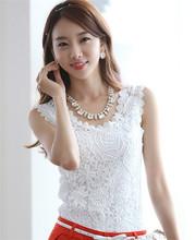 Blusas Femininas 2015 moda Tropical mulheres blusa Sexy camisa de Renda sem mangas Renda Crochet camisas Casual Tops sólidos Plus Size(China (Mainland))