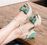 2014 wedges female sandals summer sweet flower platform thick high-heeled open toe female shoes