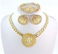 2014 Hot Sale Vintage Lion Head Myth Medusa Pendant Earrings Necklace Bangles 18K Gold Plated Rhinestone Fashion Jewelry Sets