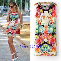 Summer Fashion Women's O Neck Sleeveless Bodycon Dress Vintage Floral Printed Slim Mini Sundress 1126