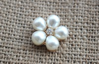 2014 new 23mm 5pearl rhinestone buttons silver plating rhinestone buttons 100pcs free shipping