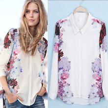 2014 New Outono Verão Mulheres longas da luva Top Quality Blusa Chiffon Flor impresso Turn Down Collar Shirt Tops SML(China (Mainland))