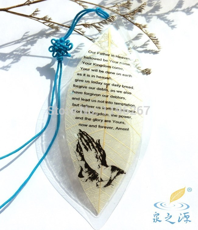 Wholesale <3 pcs/lot>natural leaf vein novelty items vintage bookmark Christian bible words personalized present(China (Mainland))