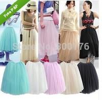 Free shipping Various Colors Lady Girl Rockabilly Petticoat Tutu Long Net Skirt Underskirt/Swing Fancy Skirt