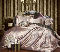 Luxury tribute silk satin jacquard bedding sets wedding Noble Palace bed set 4pcs bed linen bedclothes duvet cover sheet