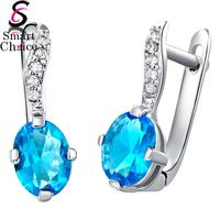 New Arrival !! 925 Sterling Silver Blue Cubic Zircon Leaf Stud Earring Women Fashion Jewelry