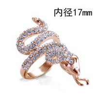 Hotting Sale Jewelry Ring With Rose Gold Plt SWA Elements Austrian Crystal Snake Shape Enamel Party Gift Ring For Women