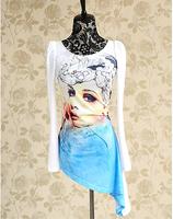New Fashion 2014 Print Long Design Slim Irregular Sweep T-shirts