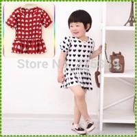 New 2014 children clothing red girl dress summer dress for kids girls free shipping
