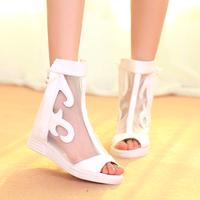 Fashion soft leather 2014 gauze open toe sandals spring cutout flat women's high heel shoes net boots flat single shoes