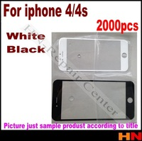 2000pcs wholesale black and white Front Digitizer Touch Outer Glass Lens Screen For iPhone 4 4G 4S Replacement Front Glass