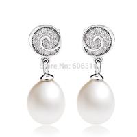 GNE0931 New 2014 Promotion Freahwater Pearl Earrings 22*8.6mm for Women Free shipping 925 Sterling silver Dangle Earrings
