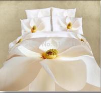 3D Floral White Elegant Home Textile Bedding Duvet Quilt Cover Bed Sheet Bedspread 7-8pcs with Filler Full Queen 100% Cotton