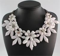 Hot brand necklace fashion party chunky luxury choker statement Acrylic necklace collar flower Pendants jewelry women