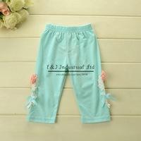 Korea Style Girls Pants Flower Blue Pants Fashion Kids Pants Baby Girls Leggings Wear Children Clothes