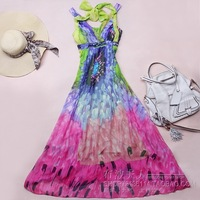 2014 summer fashion women's dresses New arrival bohemia long beach design quality print silk spaghetti strap one-piece dress