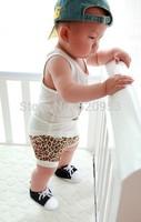 Retail fashion baby summer clothing set, baby vest + short pant 2-piece set, Leopard kids set free shipping