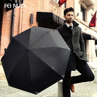 High Quality Commercial Embossed Automatic Umbrellas Male Umbrella Folding Umbrella Men Personality  3 Folded Umbrella (Black)