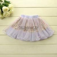 New 2014 Girl Skirt Floral Light Blue Skirts Fashion Cute Summer Skirt Kids Wear Chrildren Clothes Hot Salling
