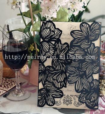 2014 noevlty ! 35 unidades / lote de corte a laser cartão de convite Flores preto para a decoração do casamento com amostras grátis(China (Mainland))