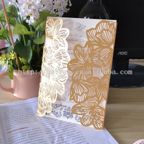 2014 noevlty ! 50 pcs / lot Cartão elegante floresce o convite para o casamento com amostras grátis(China (Mainland))