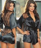 2014 New Fashion Black Satin Black Sexy Lingerie Costume Pajamas Underwear Sleepwear Robe and G-String Big Size S M L HTQY-001