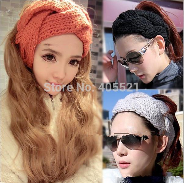 "Full braided knit headband head wrap 3"" wide pumpkin orange ear warmer hair band(China (Mainland))"
