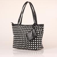 Women PU Leather Handbag Tote Shoulder Bags Large Capacity PU Black&White Weave Bags Fashion Design#HC075