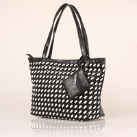 Women PU Leather Handbag Tote Shoulder Bags Large Capacity PU Black&White Weave Bags Fashion Design#HC075