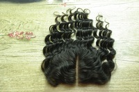 Peruvian deep wave closure virgin remy human hair natural color bleached knot 4x4 swiss curly lace closures