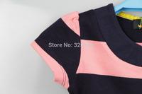 New arrival summer baby girls  pink & black  stripes Round collar  T-shirt  #9292