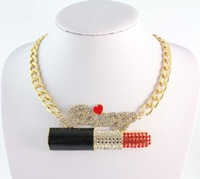 2014 Free Shipping Hot Hip Hop SEXY Rhinestone Big Lipstick Fashion Chunky Chain Necklace Jewelry,For Women