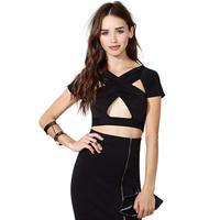 Cross- Exposed specially designed nightclub Slim short-sleeved T-shirt female women blouses tops