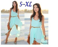 2014 Ladies Long Chiffon Sexy Dress Warm Fashion Maxi Mint Green Summer Dress Casual Brand Dresses S-XL