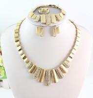 Free Shipping 18k Gold Plated Jewelry Wedding Necklace Set,Luxury Women Party Set Rhinestone Bridal Fashion Jewelry Set
