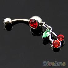 Red Cherry Dangle Rhinestone 316L Steel Navel Belly Ring Body Piercing Jewelry