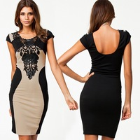 Free Shipping 2014 New Arrival Women's Elegant Embroidery Bodycon Dresses New Fashion Patchwork Autumn Casual 2014 Bandage Dress