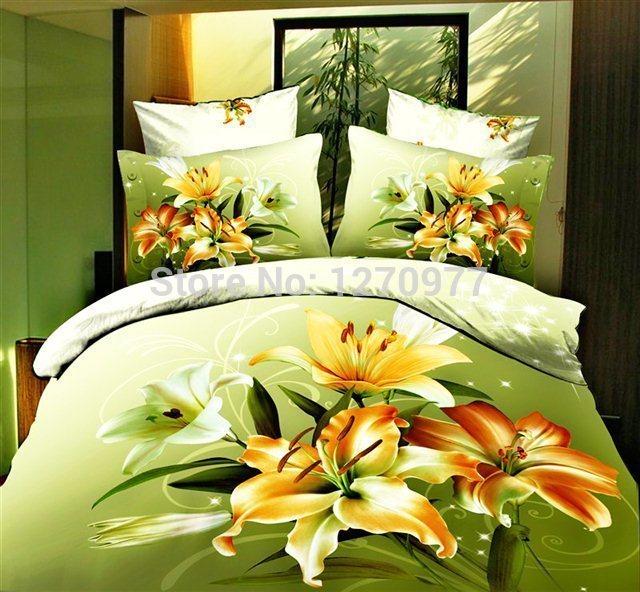 good black bedsheet white flower 100 cotton bed set size bedcover 3d bedding set luxury duvet/quilt cover sets(China (Mainland))