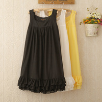 1148 High quality Fashion Casual layered dress Woman Chiffon short dress classical colors white/black/yellow