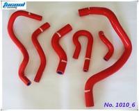 Silicone Coolant Hose for CIVIC D15 D16 EG EK Silicone Radiator Hose Kit 92-00 6pcs Red 1010 Free Shipping