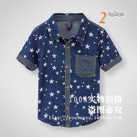 Foreign trade of the original single-brand children's clothes short sleeve denim shirt Star