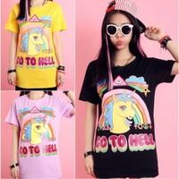 Factory tops!2014New Harajuku fashion women men Ice cream color unicorn print animal 3d/Galaxy cartoon funny t-shirts tops tees