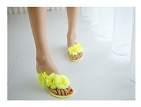 free hongkong post~  j842 4 colors jelly flowers flip flops sandals