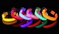 LED Nylon Pet Dog Collar Night Safety LED Glow Necklace Flashing Grow In The Dark Lighting Up S/M/L/XL