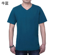 New 2014 Summer Men Clothing Cotton T-shirt  V-neck Large Sizes candy colors XL-7XL Free shipping