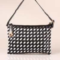 2014 Popular New Style Leather Girl Handmade Weave Messenger Bags Fashion Black&White Women Messenger Handbag#HC076